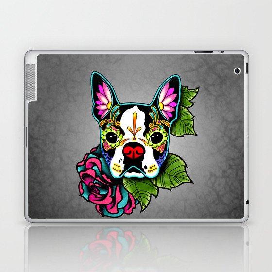 Boston Terrier in Black - Day of the Dead Sugar Skull Dog Laptop & iPad Skin