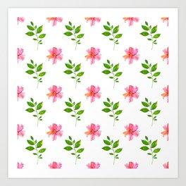 Modern elegant pink orange green watercolor floral pattern Art Print