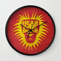 lannister Wall Clocks featuring House Lannister - Hear Me Roar by Jack Howse