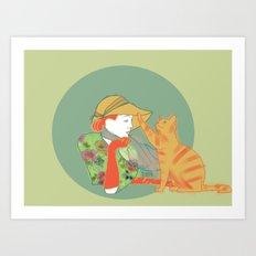 Woman and Cat #1 Art Print