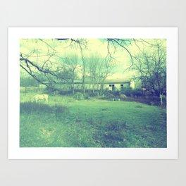 Old Barn - Blue Art Print