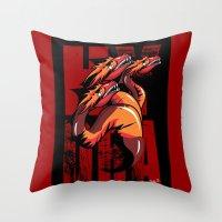 hydra Throw Pillows featuring Hydra by John Hernandez Art