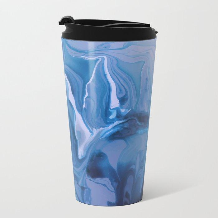 Watercolor marble blue & purple Metal Travel Mug