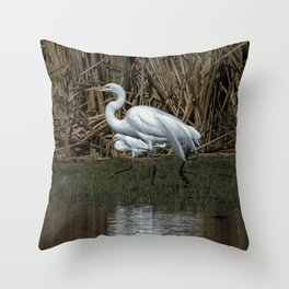 Great and Snowy Egrets, No. 3 Throw Pillow