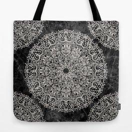MANDALA ON BLACK MARBLE Tote Bag