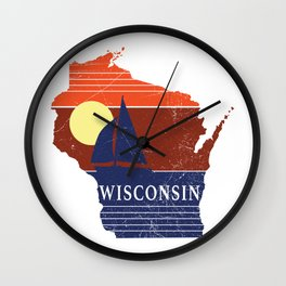 Wisconsin State WI Sailboat Sunset Print Wall Clock