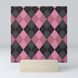Black and Pink Argyle Diamond Plaid Pattern Mini Art Print