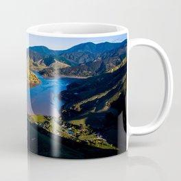 cable bay blue lagune panorama drone shot Coffee Mug