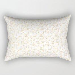 Teeth - Gold Line (White) Rectangular Pillow