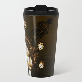 Circular Gold Illuminated Orb Hanging Chandelier Print Travel Mug