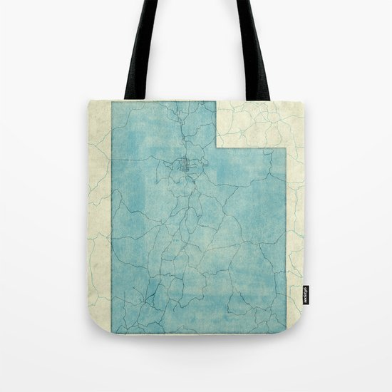 Utah State Map Blue Vintage Tote Bag