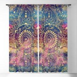 Gold watercolor and nebula mandala Blackout Curtain
