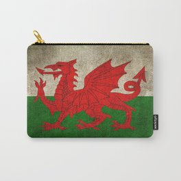 Old and Worn Distressed Vintage Flag of Wales Carry-All Pouch
