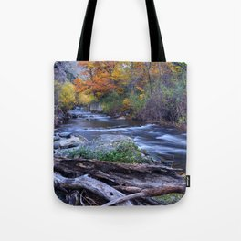 Mountain river. After raining. Night photography. Tote Bag