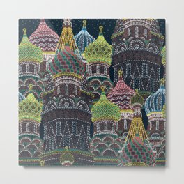 Moscow in Holiday Lights Metal Print