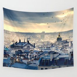 Rooftops in Paris Wall Tapestry