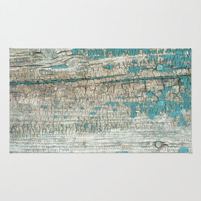 Rustic Wood Turquoise Weathered Paint Wood Grain Rug