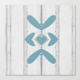 Decorative Abstract Heart Design over Wood Canvas Print