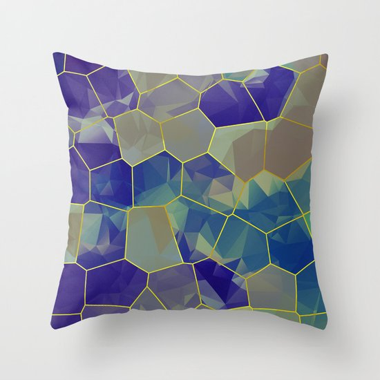 Stained Glass Polygons Throw Pillow
