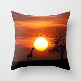 Giraffe sundown Throw Pillow