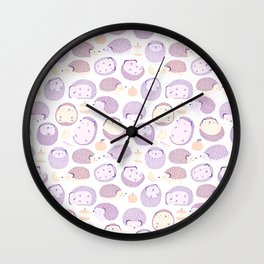 Happy Hedgies - Kawaii Hedgehog Doodle Wall Clock