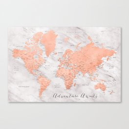 """Adventure awaits world map in rose gold and marble, """"Janine"""" Canvas Print"""