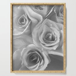 Roses in Black and White Serving Tray