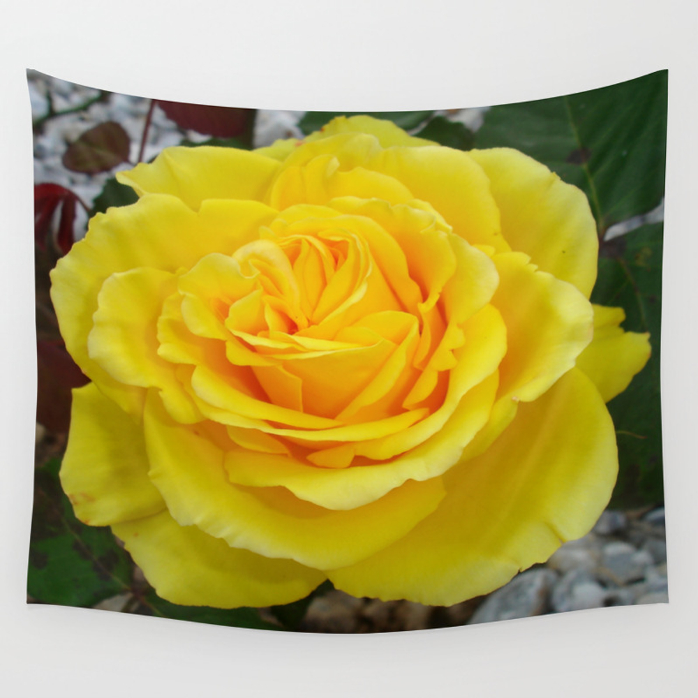 Head On View Of A Yellow Rose With Garden Backgrou… Wall Tapestry by Taiche TPS1460871