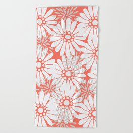 Summer Flowers Living Coral Beach Towel