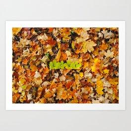 Love in the Fall Leaves Art Print
