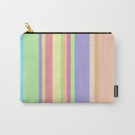 peach puff and baby blue colored stripes Carry-All Pouch