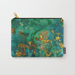 Malachite and Gold Glitter Stone Ink Abstract Gem Glamour Marble Carry-All Pouch