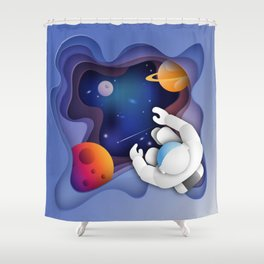 3D Paper Art Astronaut in Space Shower Curtain
