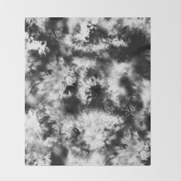 Black and White Tie Dye & Batik Throw Blanket