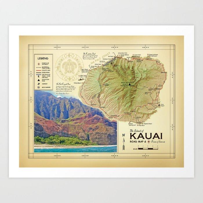 graphic regarding Printable Map of Kauai known as Island of Kauai [common influenced] Na Pali Coastline highway map Artwork Print via kokuadesigncompany