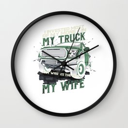 My Truck My Wife Dirt Track Racing Racer Auto Racing Race Cars Gifts Wall Clock
