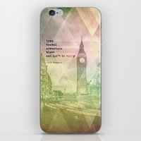 kerouac iPhone & iPod Skins featuring Jack Kerouac 1 - Live, Travel, Adventure, Bless by sammilukanphotography