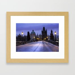 Winter and Snow at the Charles Bridge, Prague Framed Art Print
