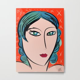 Red Blue Girl Fauve and Pop Metal Print