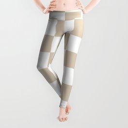 Brown, Beige: Checkered Pattern Leggings