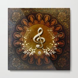 Music, wonderful decorative clef Metal Print