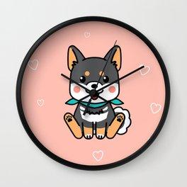 Black Shiba Inu Kawaii Japanese Dog Wall Clock