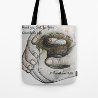 gift card Tote Bags featuring His Indescribable Gift by EloiseArt