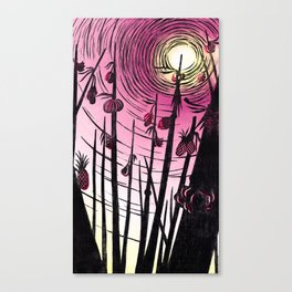 FLOATING MARKET| WOOD-CUT | PINK |PRINT DOWNLOAD Canvas Print