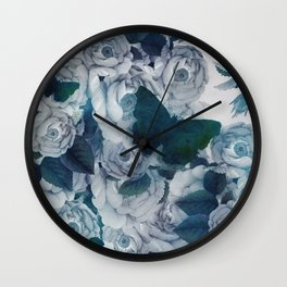 foral cyan blue roses & butterflies in spring Wall Clock