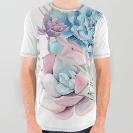 Pretty Pastel Succulents All Over Graphic Tee