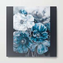 BLUE FLOWERS PAINTING - 180818/1 Metal Print