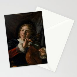 Frans Hals - Lute Playing Boy - Renaissance Fine Art Retro Vintage Oil Painting Stationery Cards