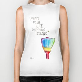 Paint Your Life With Your Colors nursery illustration colorful rainbow paint brush positive quote Biker Tank