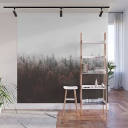 Misty Pine Forest Minimalist Modern Foggy Landscape Photography Wall Mural
